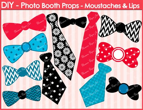 Handmade Photo Booth Props - printable photo booth props diy ties ribbons