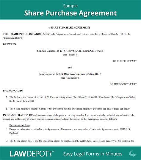 sale of shares agreement template purchase agreement template us lawdepot