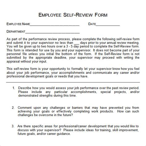 self assessment templates employees sle employee self evaluation form 16 free documents