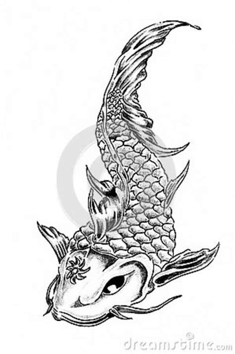 Desenho Da Mão Da Carpa Do Koi Ilustração Stock