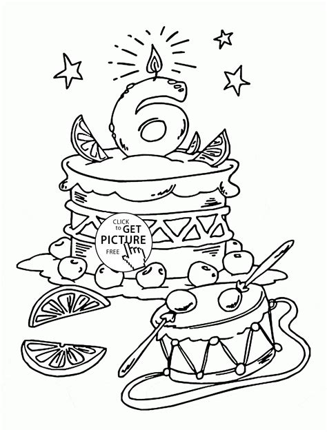 birthday coloring page happy 6th birthday coloring page for