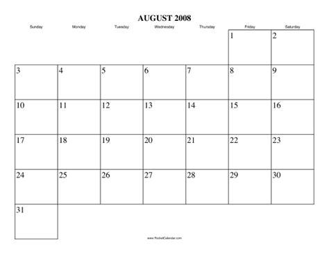 August 2008 Calendar August 2008 Calendar