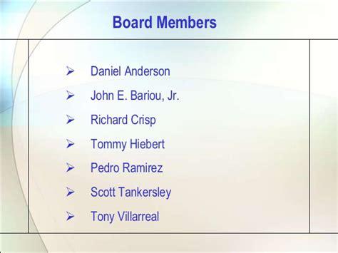 board member orientation agenda san angelo development corporation orientation august 14 2013