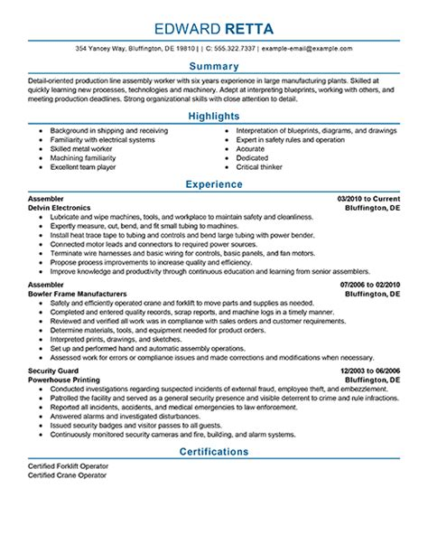 production worker resume objective 20 production line worker resume sles vinodomia