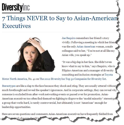 7 Things To Say And Do When The Feelings Not by Diversityinc 7 Things Never To Say To Asian American