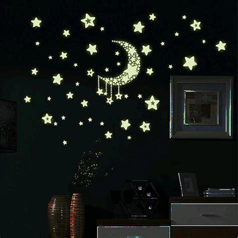 glowing stars for bedroom 3d glow in the dark star moon luminous decal sticker kid
