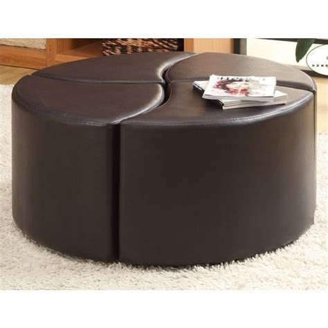 leather ottoman with wheels trent home strand 4 piece faux leather ottoman with