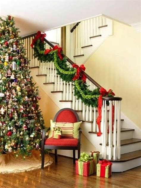 garland for stairs christmas decorate the stairs for 30 beautiful ideas