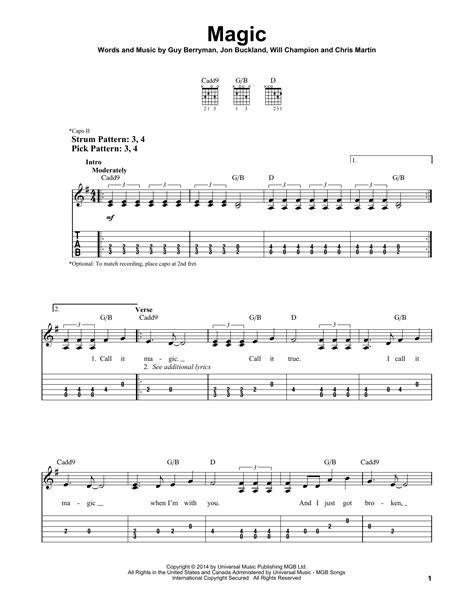 coldplay magic chords magic sheet music by coldplay easy guitar tab 179986