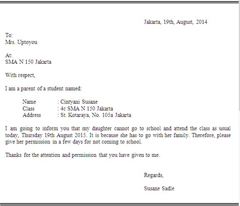 surat izin tidak masuk sekolah dalam bahasa inggris