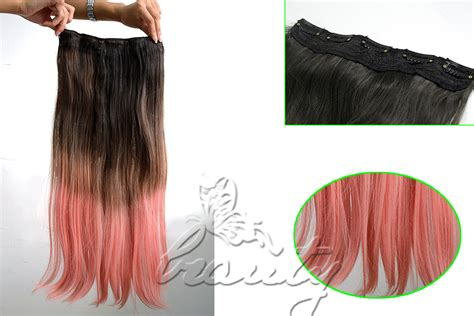 Hair Extension Ombre Gradient Wig Hair Clip Light Purple Pink one pastel ombre gradient color weft clip in synthetic hair extensions