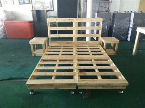 pallet queen bed frame side lamp table pallet bed