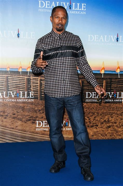 Givenchy Deauville foxx wears givenchy stripe check shirt at the 39th deauville american festival