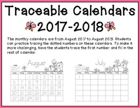 traceable monthly calendars 2017 2018 by alma solis tpt