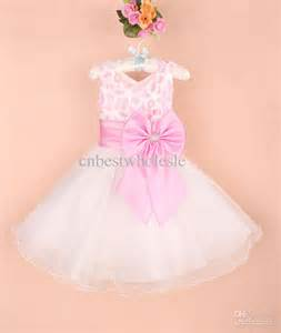 Newest design baby girls wedding party dress kids girl bowknots bow