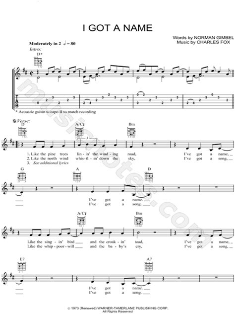 How G Got Name by Jim Croce Quot I Got A Name Quot Guitar Tab In D Major