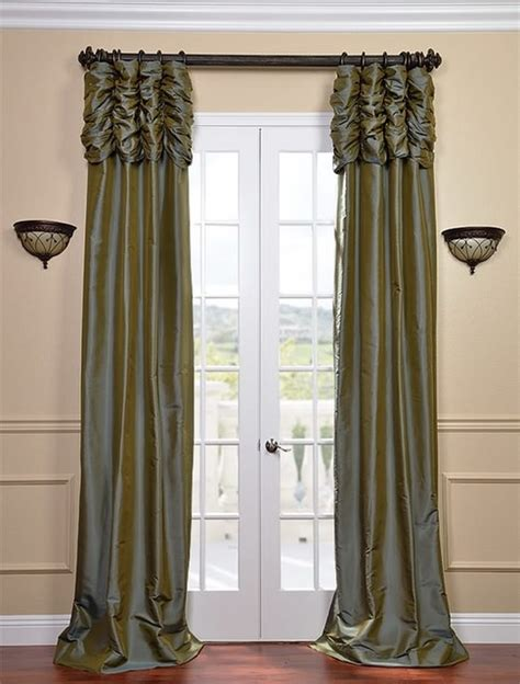 traditional curtains and drapes ruched sea blue thai silk curtain traditional curtains
