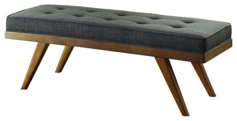 grey fabric bench homelegance bingsley accent bench in dark gray fabric