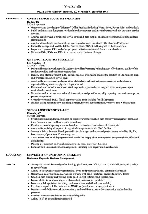 logistics specialist resume resume cafe manager how to
