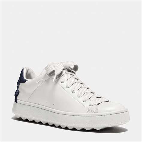 coach white sneakers coach leather c101 low top sneaker in white lyst