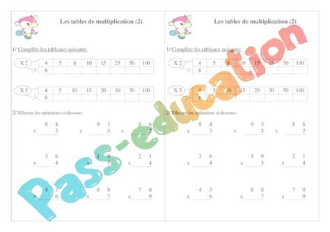 exercice table de multiplication ce1 table de lit a