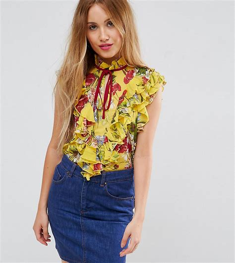 Asos Ruffle Front Blouse lyst asos yellow floral sleeveless blouse with ruffle