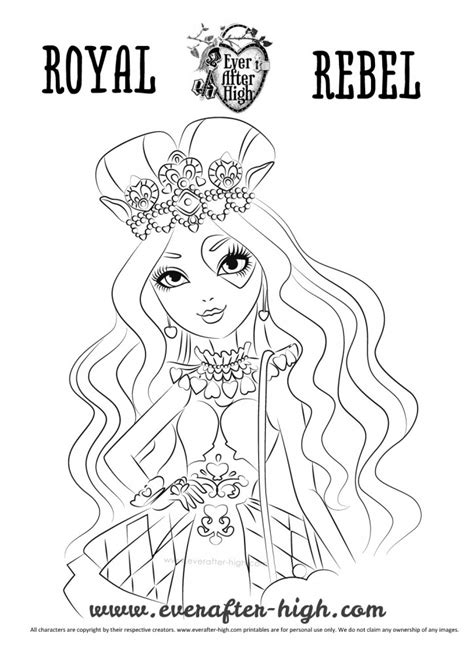 ever after high coloring pages lizzie lizzie hearts coloring page ever after high
