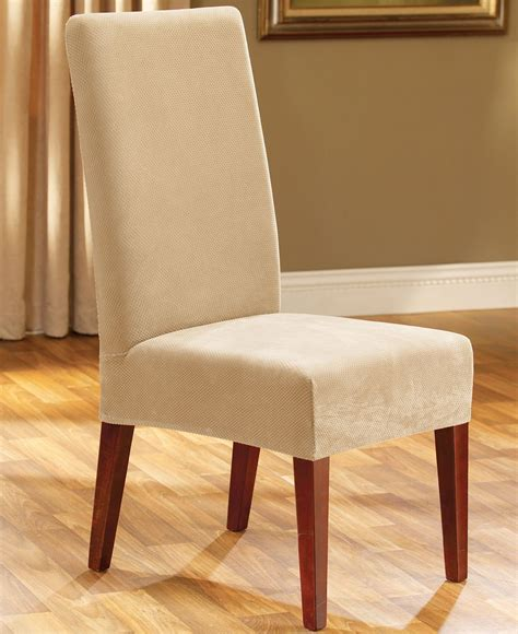 dining room chair slip covers sure fit stretch pique short dining room chair slipcover cream
