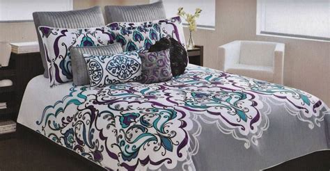 cynthia rowley comforter sets cynthia rowley queen scroll medallion teal purple gray