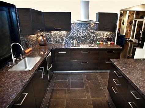 dark brown tile backsplash small kitchen interior design granite countertop colors hgtv