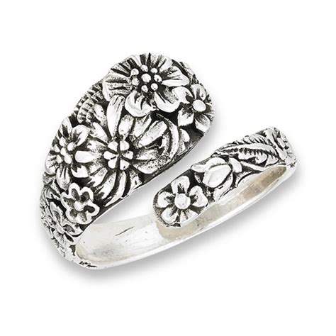 Rings With Flowers by Sterling Silver Spoon Ring With Flowers
