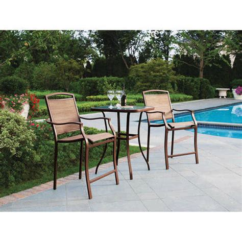 mainstays sand dune 3 piece high outdoor bistro set seats