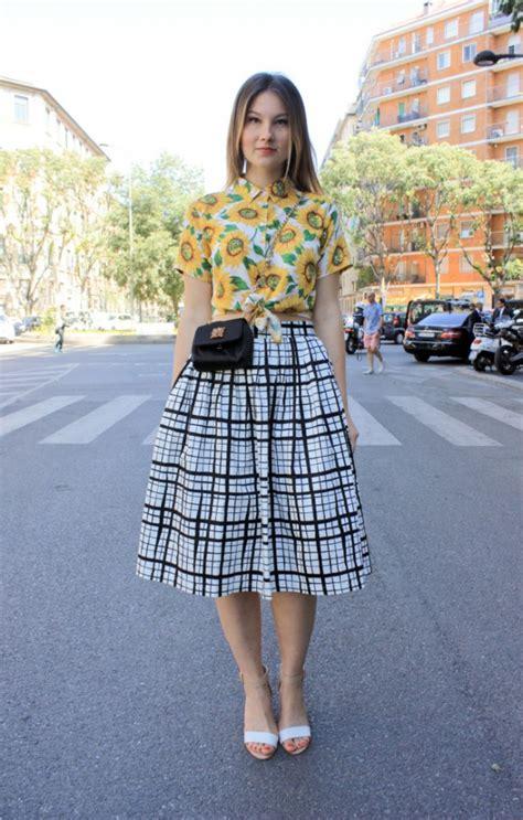 checked midi skirt 13 style ways to wear the midi