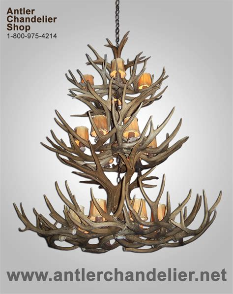 Real Antler Mule Deer Triple Tier Chandelier 18 Lights Antler Chandelier Shop