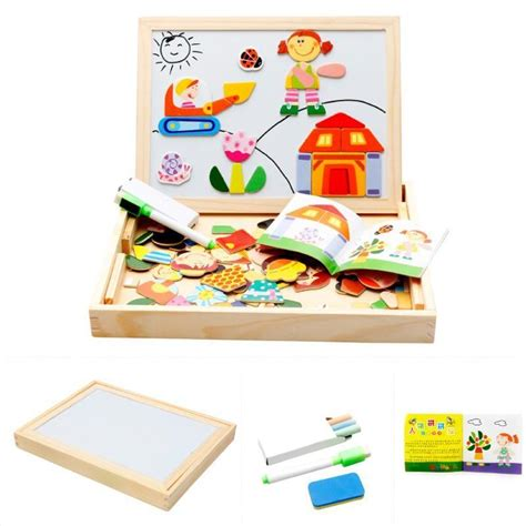 Magnetic Puzzle Worpad Tema Hewan wooden puzzle sided magnetic drawing board