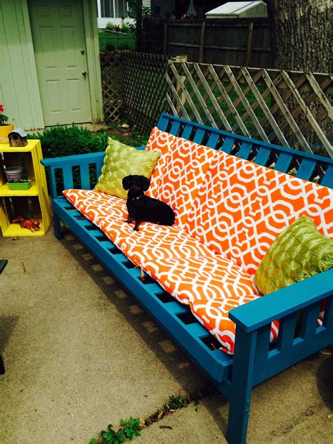 Old futon frame~ weatherproof spray paint and outdoor