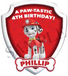 marshall birthday iron paw patrol birthday iron labelmybaby artfire