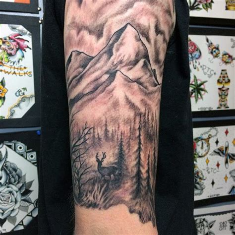 mountain tattoo sleeve 90 deer tattoos for manly outdoor designs