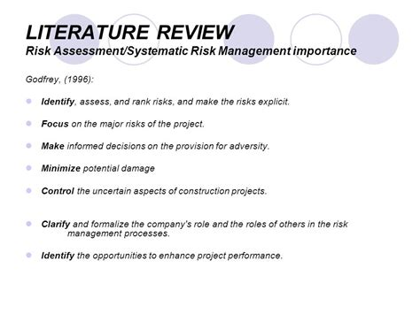 Risk Literature Review by Kfupm Department Of Cem Ppt