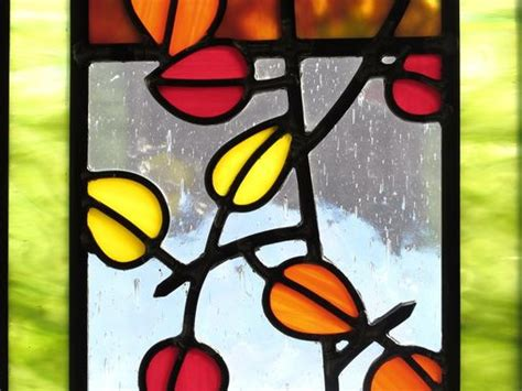 handmade aspen trees  leaves stained glass  painted light stained glass custommadecom