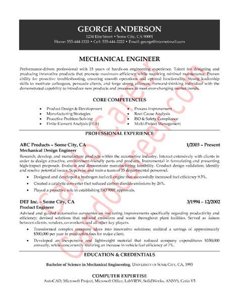 Mechanical Engineering Info Mechanical Engineer Resume Sle Http Www