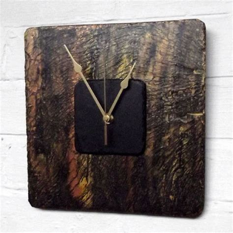 Handmade Clocks Uk - bronzed square slate clock