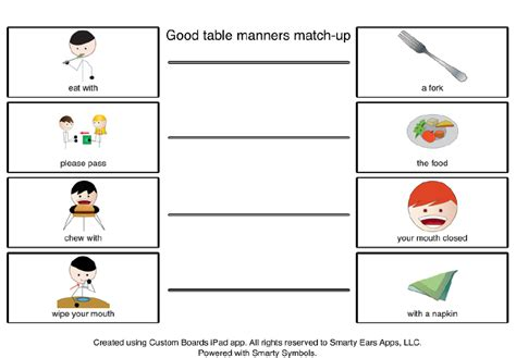 worksheets for preschoolers on manners table manners worksheet for kids image search results