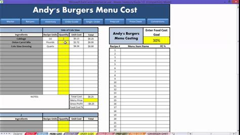 restaurant menu costing template professional sle