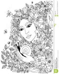 belle femme avec escargot dans les couleurs conception pour des adultes livre coloriage
