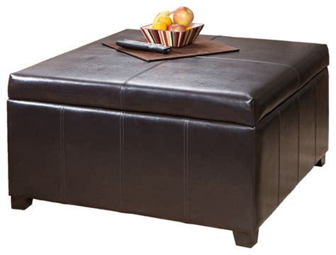Berkeley Espresso Leather Storage Ottoman Coffee Table Storage Coffee Table Ottomans