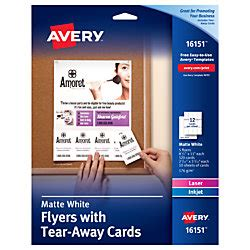 avery flyers templates with tear away cards avery flyers with tear away note cards 8 12 x 11 white