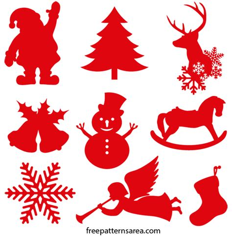 christmas ornament silhouette vector shapes freepatternsarea