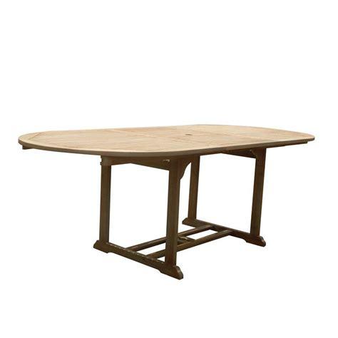 Walker Edison Furniture Company Boardwalk Brown Acacia Extending Patio Table