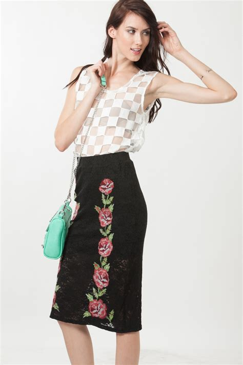 Cp Printed Cc high waist floral embroidered lace skirt